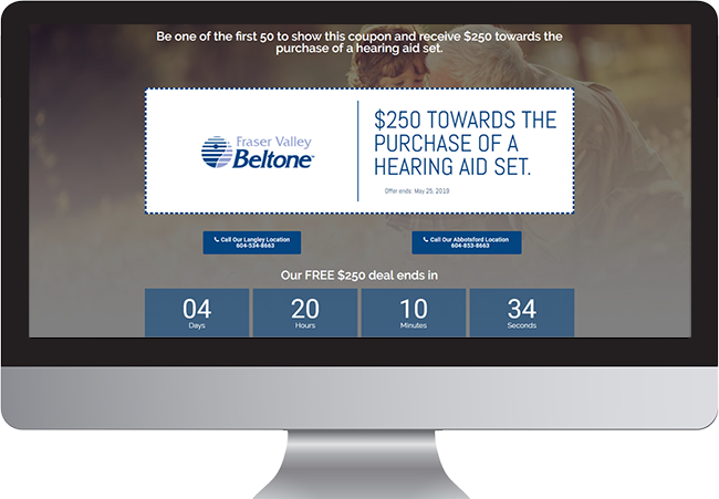 Fraser Valley Beltone Coupon Landing Page