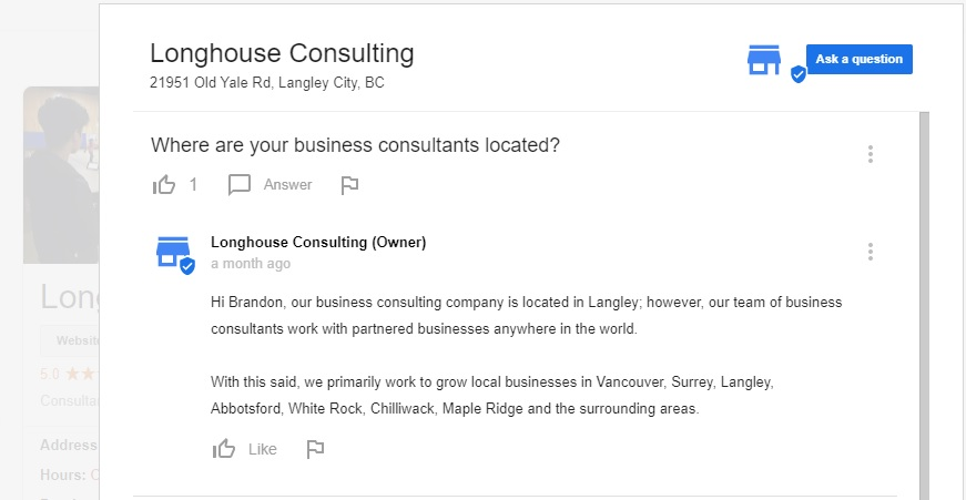 Longhouse Media responding to a Google My Business question