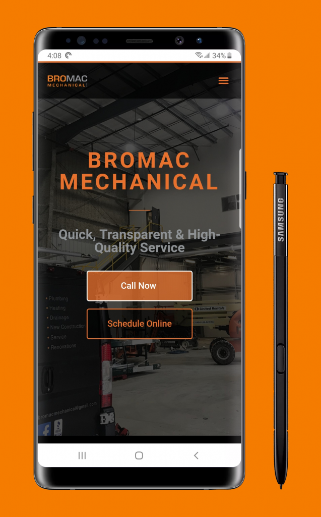 Bromac Mechanical Website on Mobile
