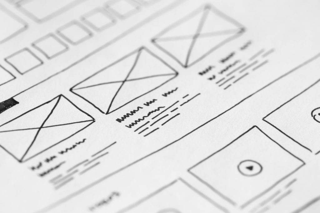 Close up of a homepage wireframe for a website