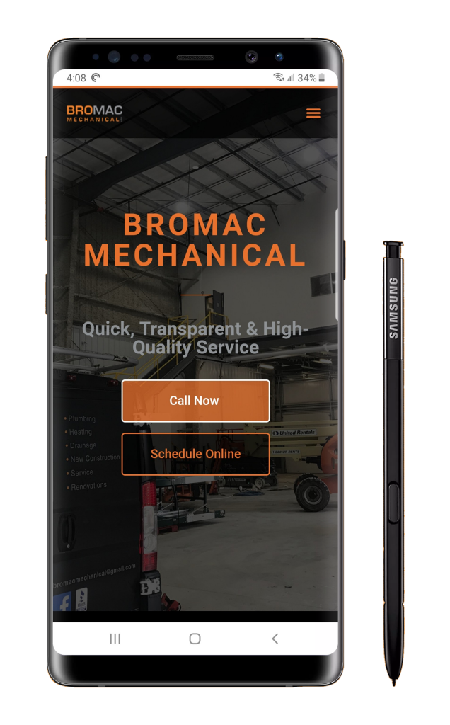 A mobile phone mockup featuring the black and orange home page of the Bromac Mechanical website on a Samsung Note 9 with stylus.