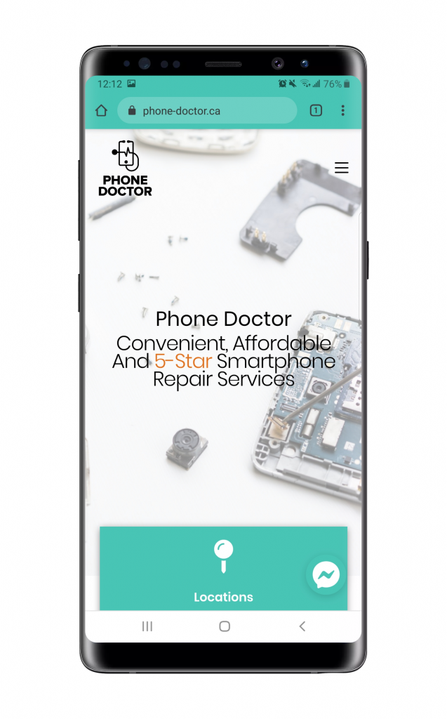 Mobile mockup on a samsung note 9 that shows the phone doctor light green and white branding colouirs and the phone doctor logo