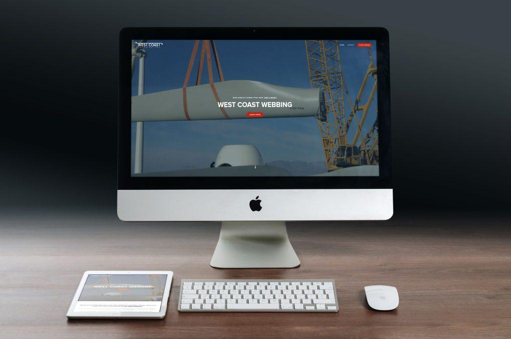 West Coast Webbing | Company Website  on a iMac computer