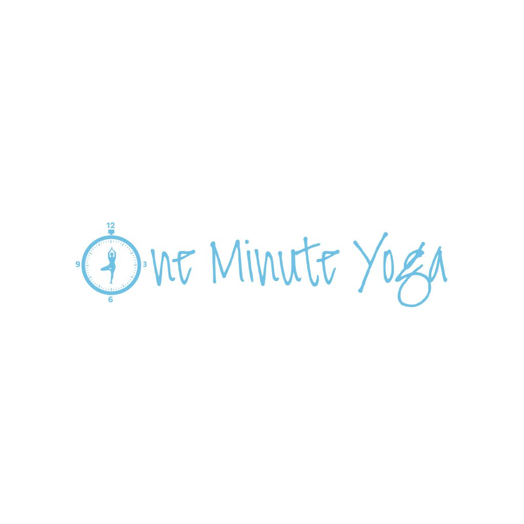 One Minute Yoga Business Logo Blue with the name spelled out. Longhosue Media created this logo with our graphic design service