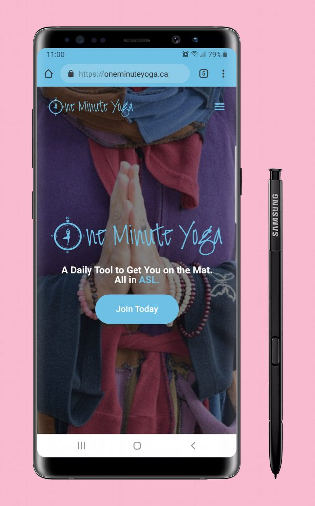 One Minute Yoga website on mobile device