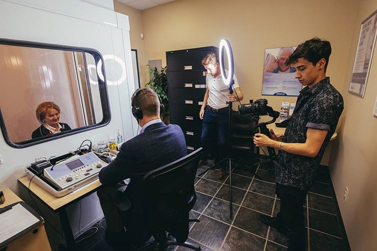 Behind the scenes at a video shoot for Fraser Valley Beltone