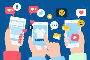 Illustration of users using a social media application